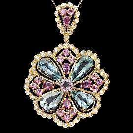 14k Gold Aqua Sapphire Spinnel Diamond Pendant