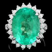 18k Gold 1135ct Emerald 130ct Diamond Ring