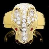 18k Gold 1ct Diamond 005ct Ruby Mens Ring