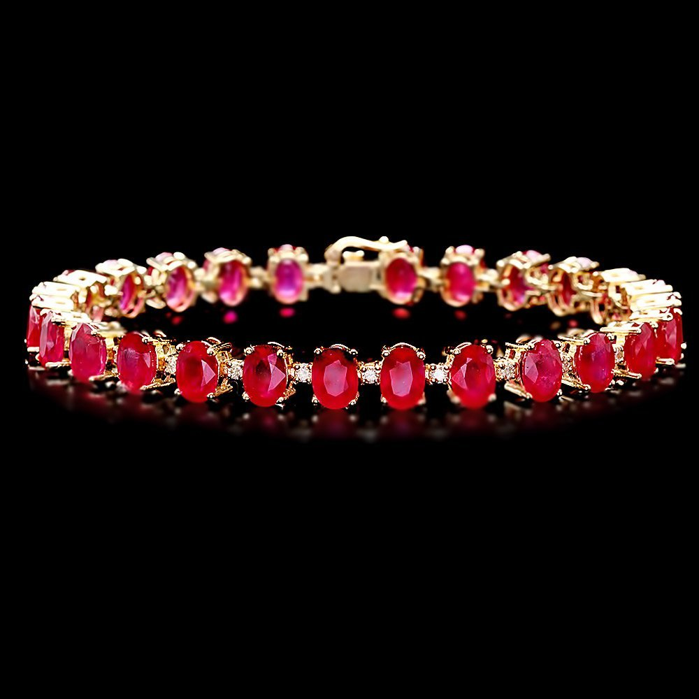 14k Gold 32ct Ruby 0.80ct Diamond Bracelet