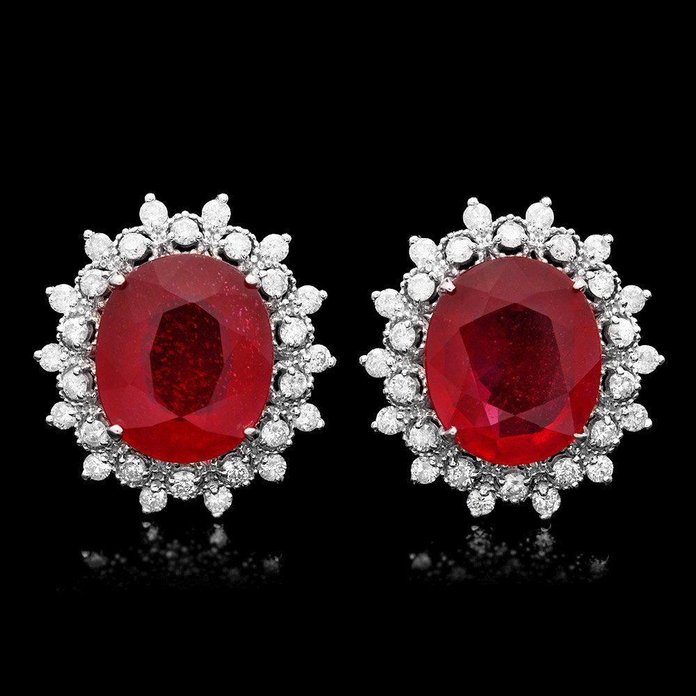 14k Gold 14ct Ruby 1.50ct Diamond Earrings