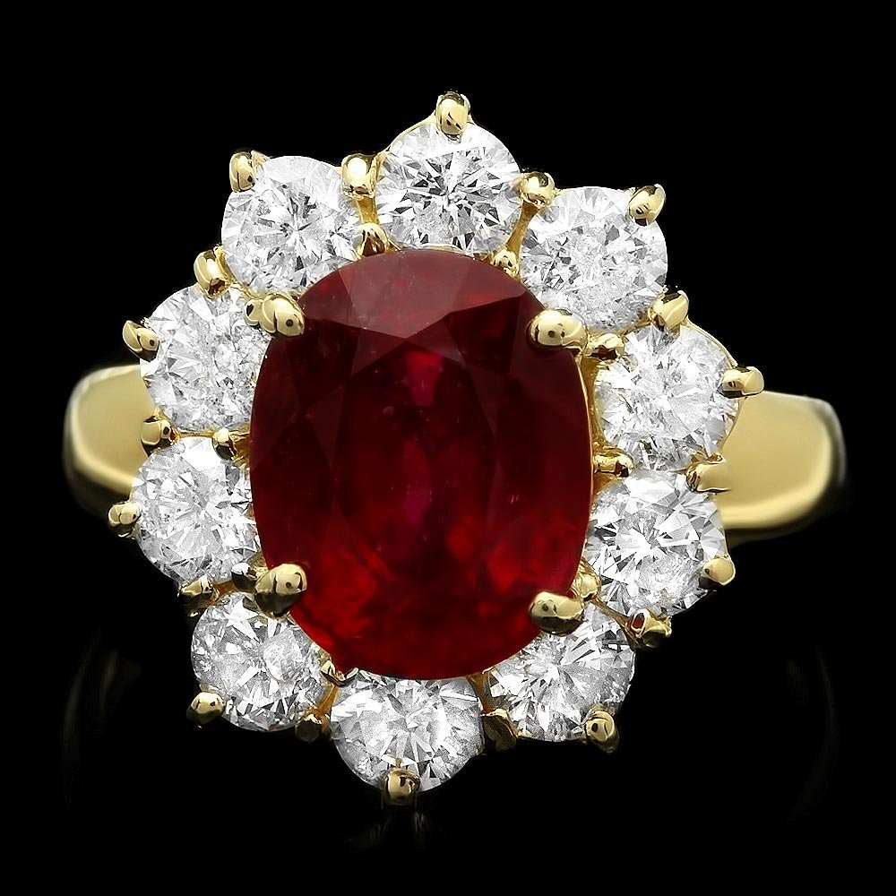 14k Yellow Gold 4.66ct Ruby 1.74ct Diamond Ring