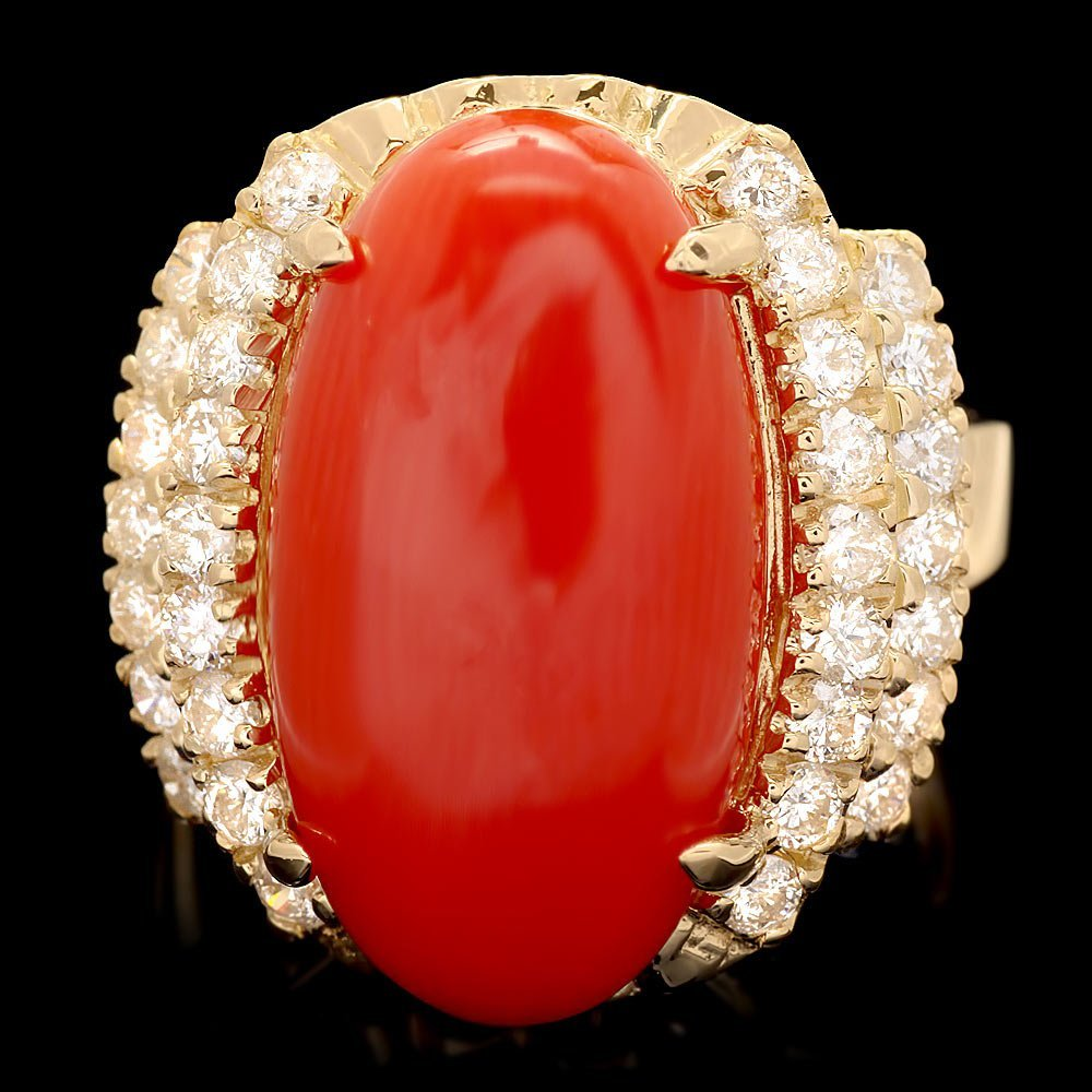14k Yellow Gold 9.50ct Coral 1.00ct Diamond Ring