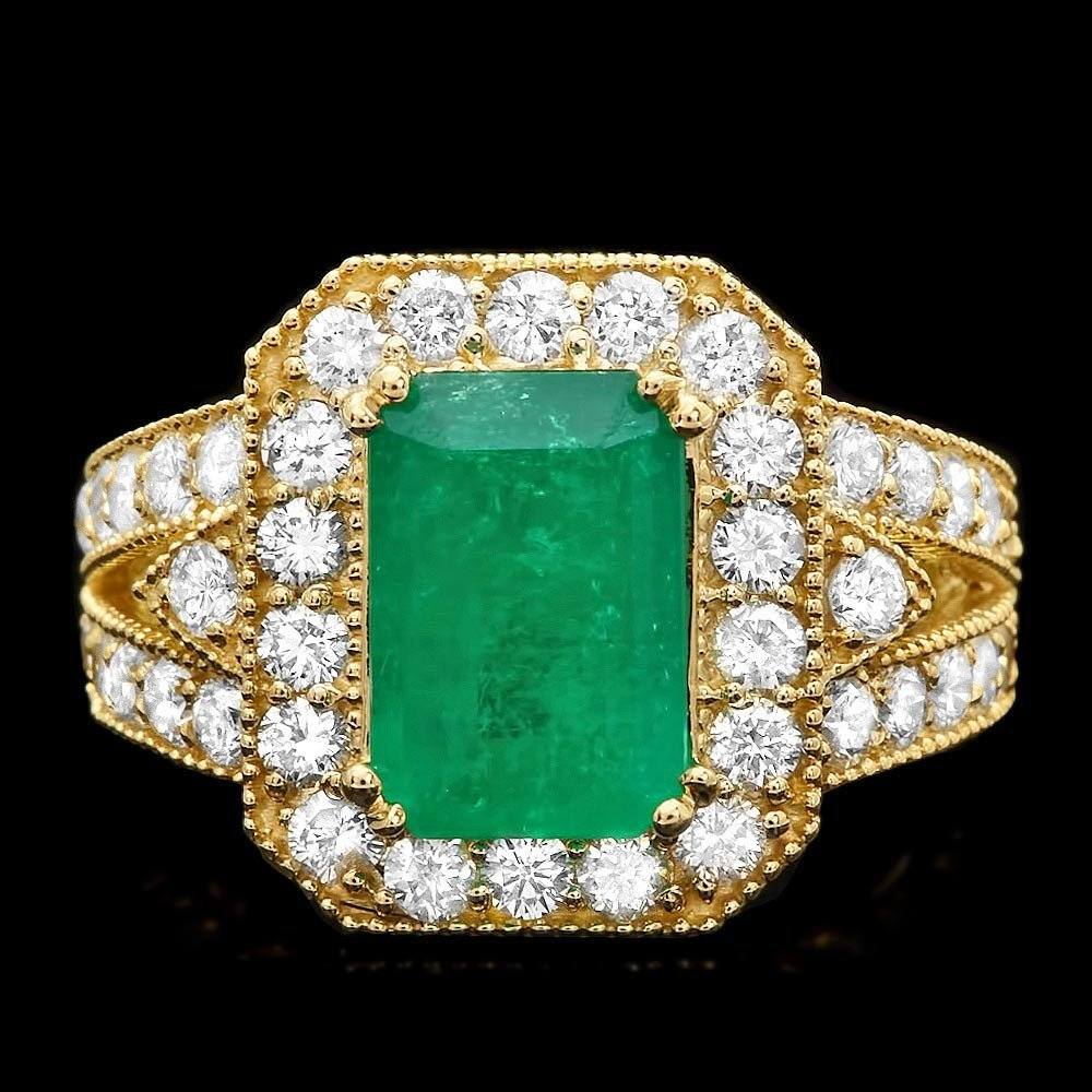 14k Gold 3ct Emerald 1.50ct Diamond Ring