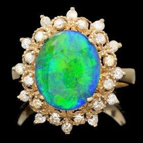 14k Yellow Gold 2.55ct Opal 0.47ct Diamond Ring