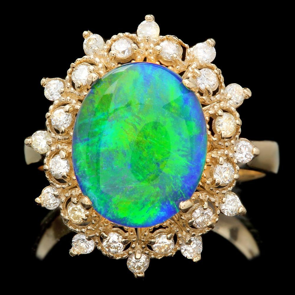 14k Yellow Gold 2.55ct Opal 0.47ct Diamond Ring