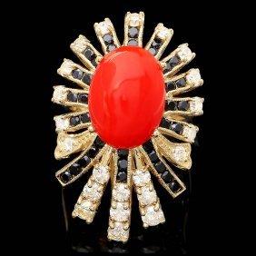 14k Yellow Gold 4.00ct Coral 1.40ct Diamond Ring