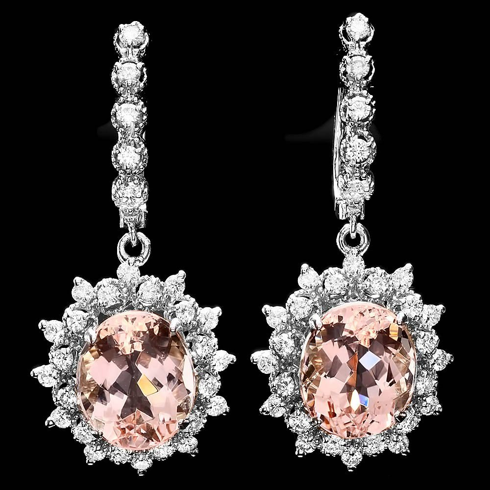14k Gold 10ct Morganite 1.5ct Diamond Earrings