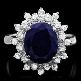 14k Gold 4ct Sapphire 0.65ct Diamond Ring