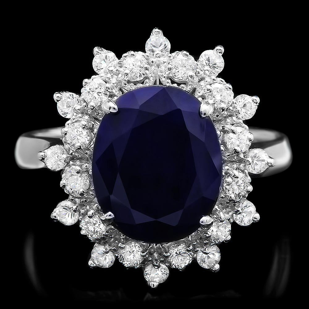14k Gold 4ct Sapphire 0.65ct Diamond Ring