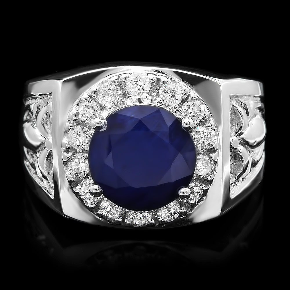 14k Gold 3ct Sapphire 0.50ct Diamond Mens Ring
