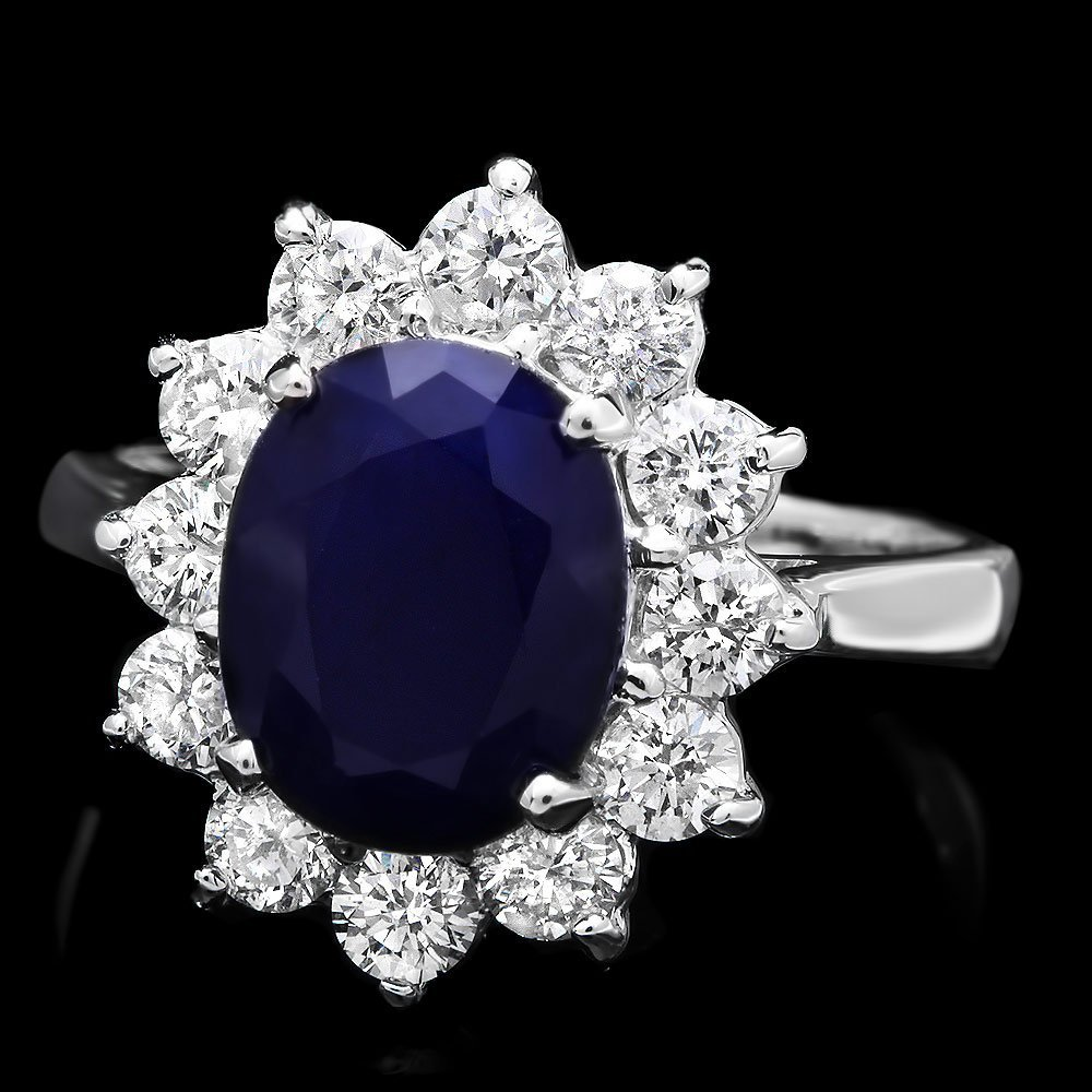 14k White Gold 3.00ct Sapphire 1ct Diamond Ring