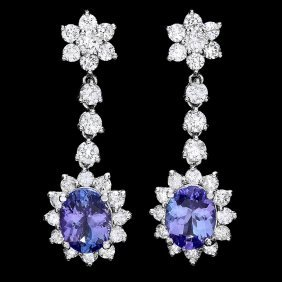 14k W Gold 3.5ct Tanzanite 2.8ct Diamond Earrings