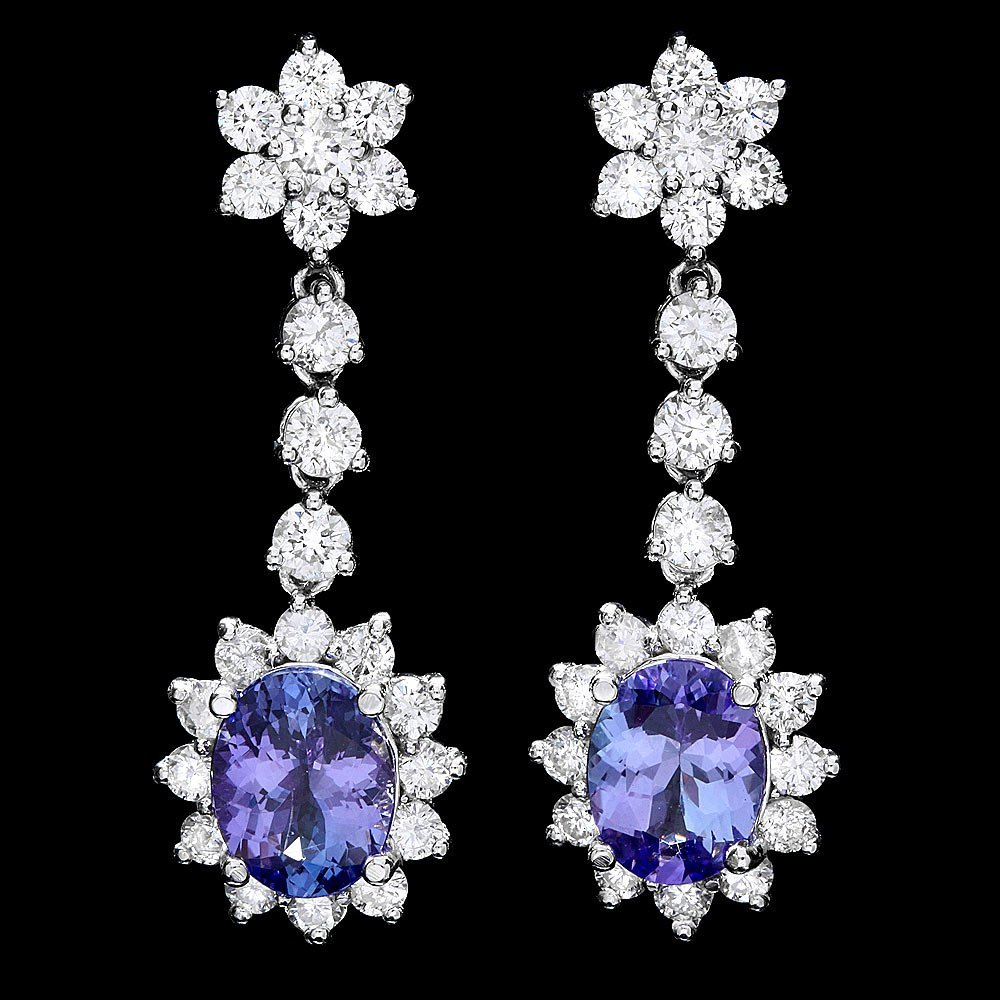 14k W Gold 3.5ct Tanzanite 2.8ct Diamond Earrings