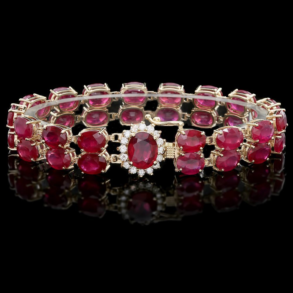 14k Yellow Gold 58ct Ruby 0.65ct Diamond Bracelet