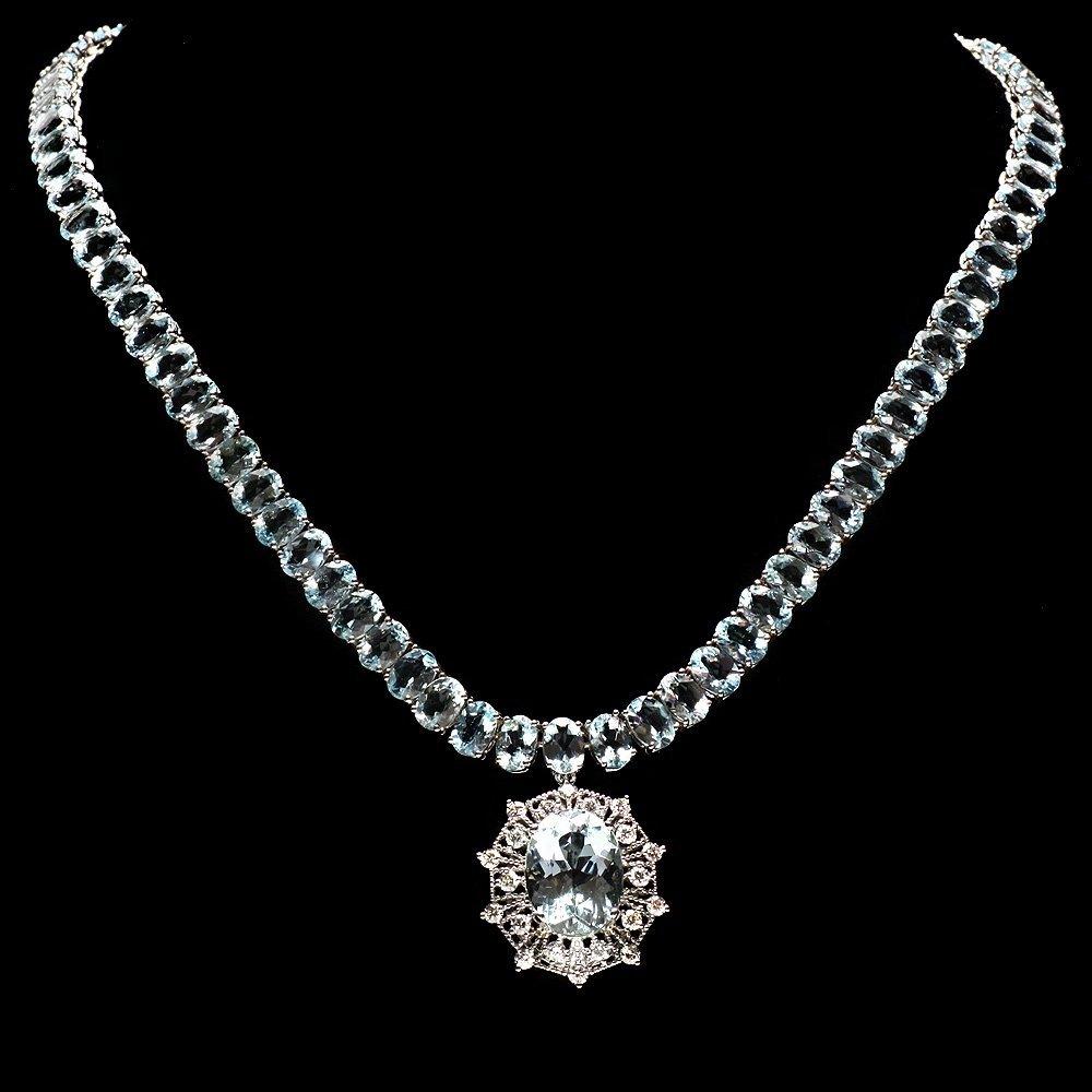 14k W/G 61ct Aquamarine 1.35ct Diamond Necklace