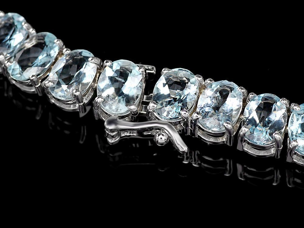 14k W/G 61ct Aquamarine 1.35ct Diamond Necklace - 2
