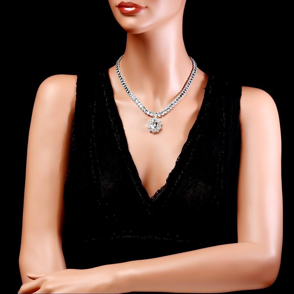 14k W/G 61ct Aquamarine 1.35ct Diamond Necklace - 3
