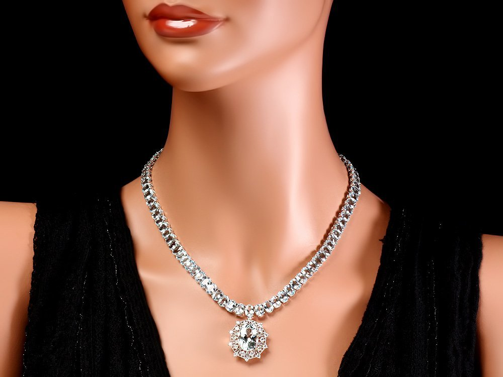 14k W/G 61ct Aquamarine 1.35ct Diamond Necklace - 4