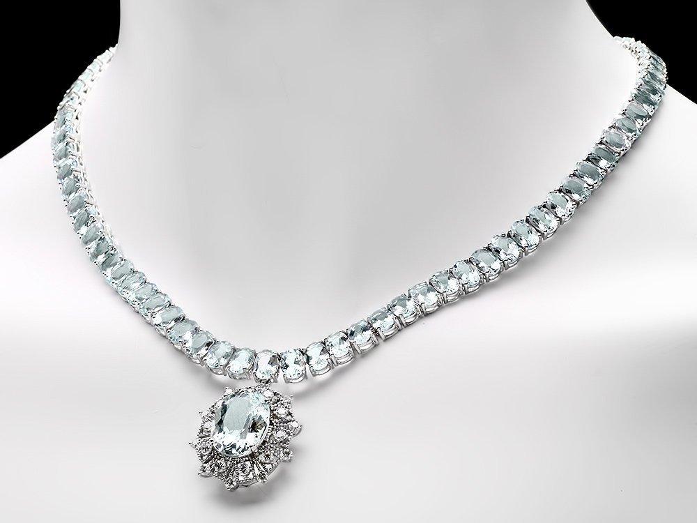 14k W/G 61ct Aquamarine 1.35ct Diamond Necklace - 5