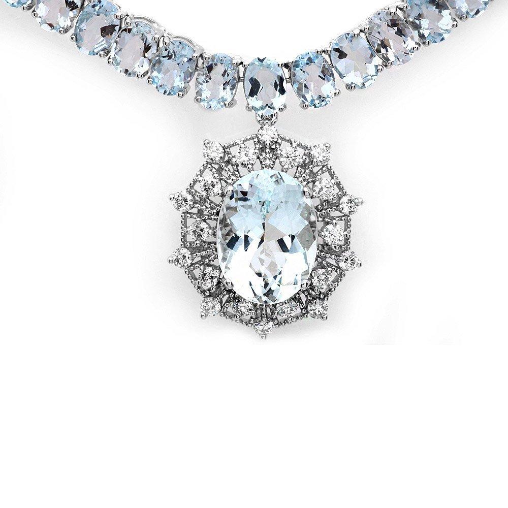 14k W/G 61ct Aquamarine 1.35ct Diamond Necklace - 6