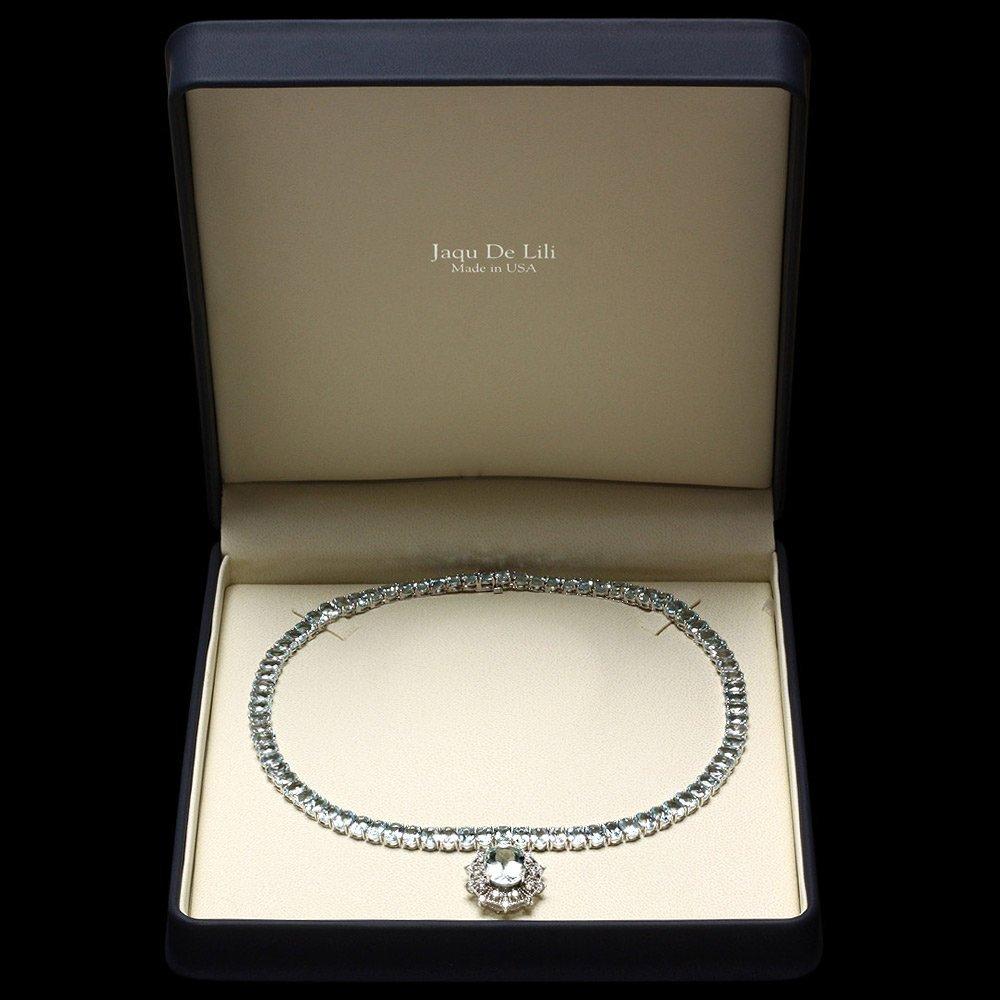 14k W/G 61ct Aquamarine 1.35ct Diamond Necklace - 7