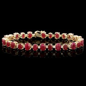 14k Gold 23ct Ruby 1ct Diamond Bracelet
