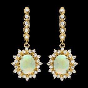 14k Gold 3ct Opal 1.65ct Diamond Earrings
