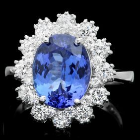 14k Gold 4ct Tanzanite 1.30ct Diamond Ring