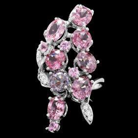 14k White Gold 10ct Spinel 0.20ct Diamond Ring
