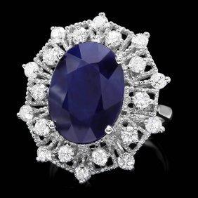 14k Gold 9ct Sapphire 1.35ct Diamond Ring