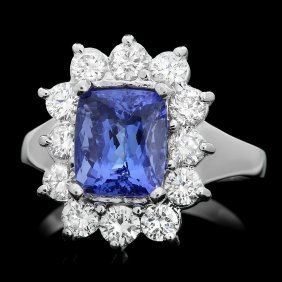 14k Gold 3ct Tanzanite 1.10ct Diamond Ring
