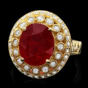 14k Yellow Gold 6.00ct Ruby 0.80ct Diamond Ring