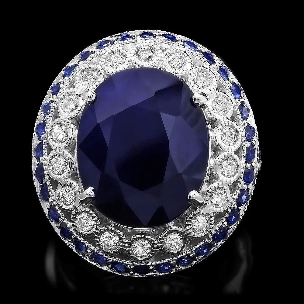14k Gold 10.3ct Sapphire 0.60ct Diamond Ring