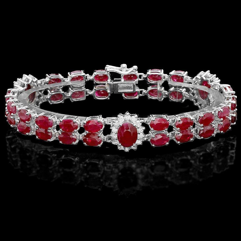 14k Gold 26.5ct Ruby 1.30ct Diamond Bracelet