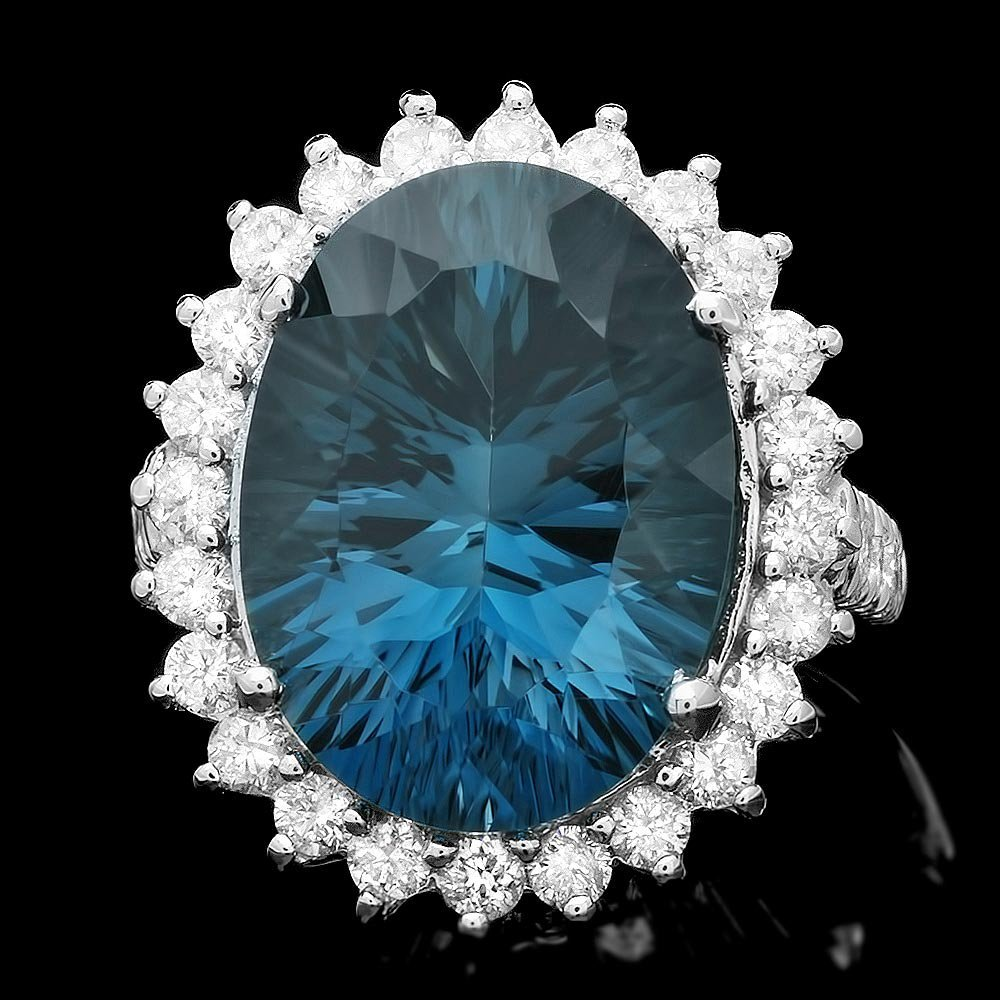 14k White Gold 14.50ct Topaz 1.50ct Diamond Ring