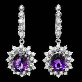 14k Gold 5ct Amethyst 1.95ct Diamond Earrings