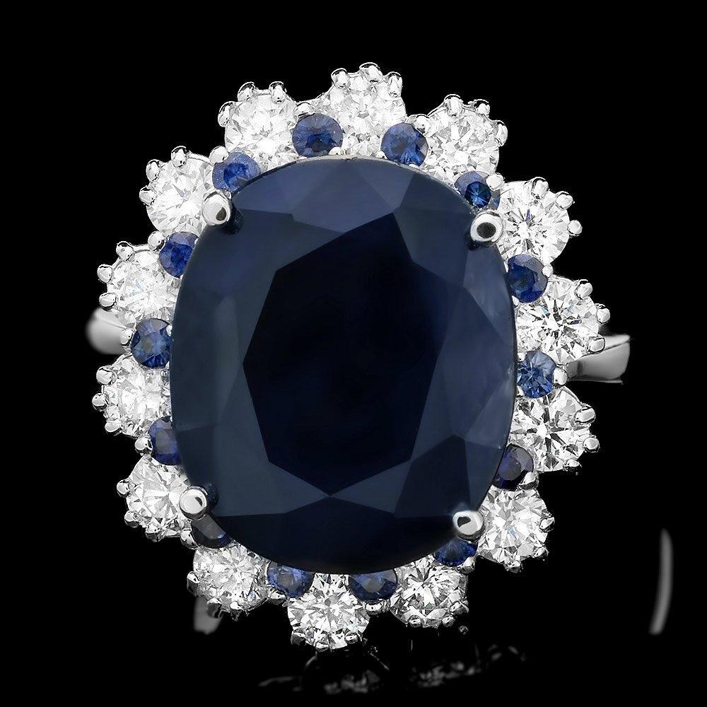 14k Gold 10.7ct Sapphire 1.40ct Diamond Ring