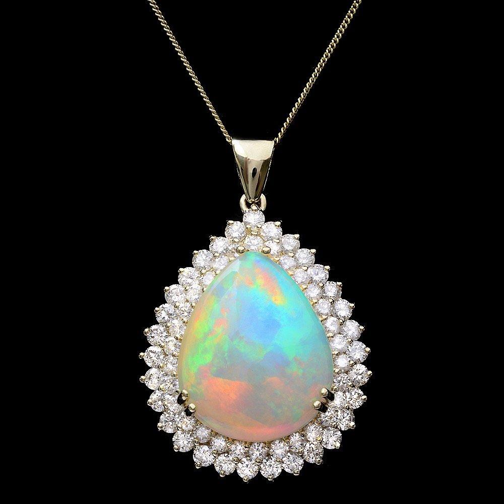 14k Gold 16ct Opal 3.50ct Diamond Pendant