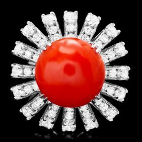 14k White Gold 7.50ct Coral 2.20ct Diamond Ring