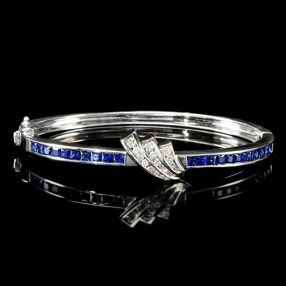18k Gold 4ct Sapphire 0.80ct Diamond Bracelet