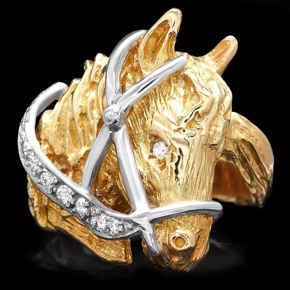 14k Multi-Tone Gold 0.15ct Diamond Mens Ring