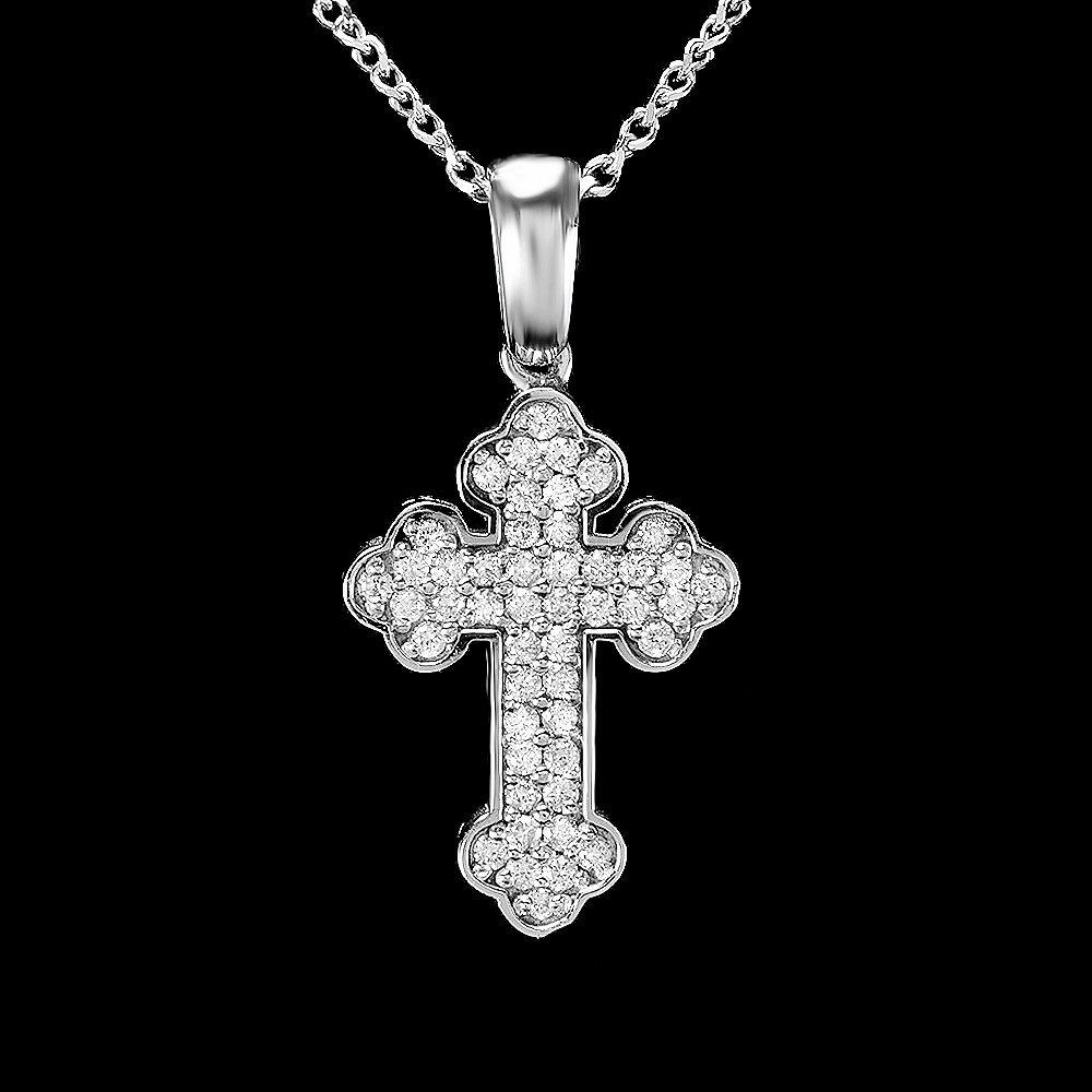 14k White Gold 0.75ct Diamond Cross Pendant