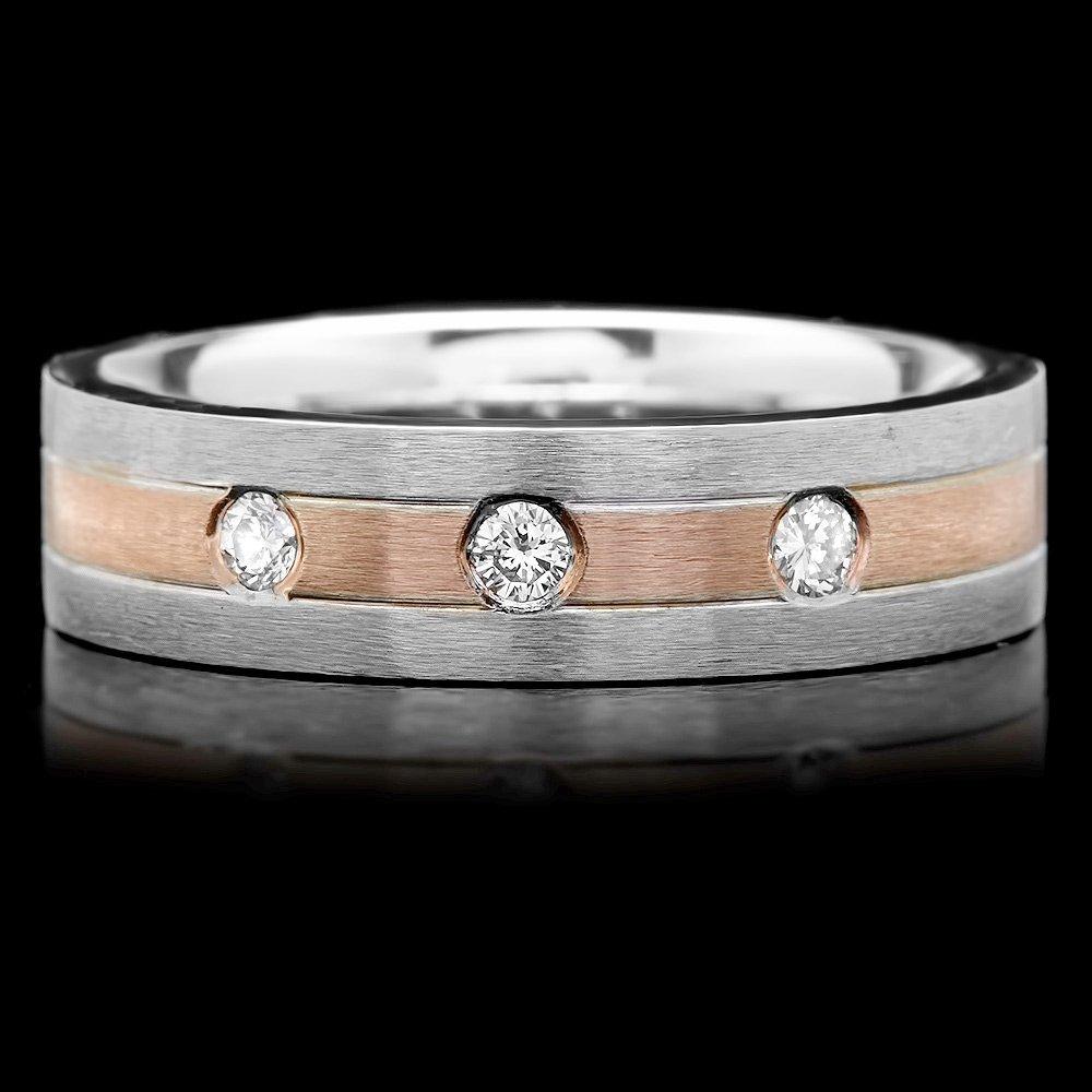 14k Multi-Tone Gold 0.18ct Diamond Mens Ring
