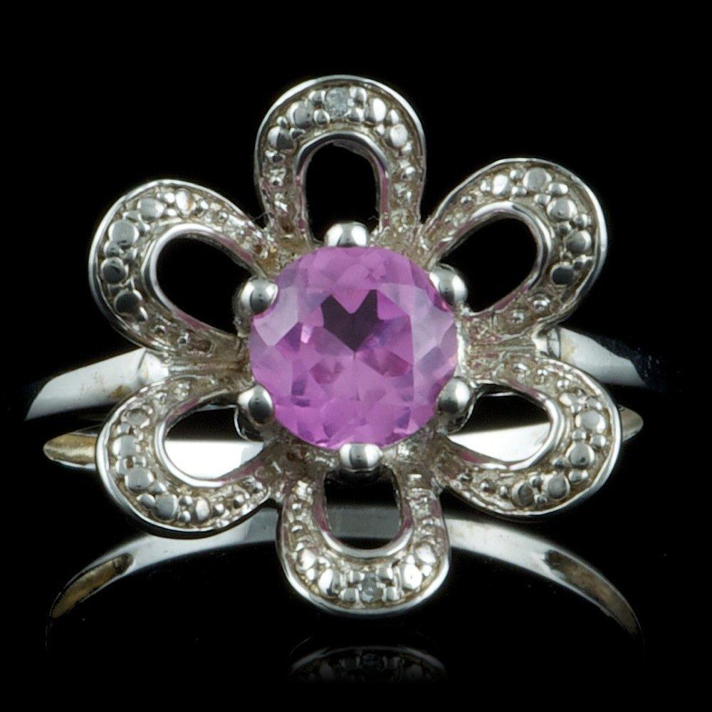 925 Sterling Silver 0.50ct Amethyst Diamond Ring