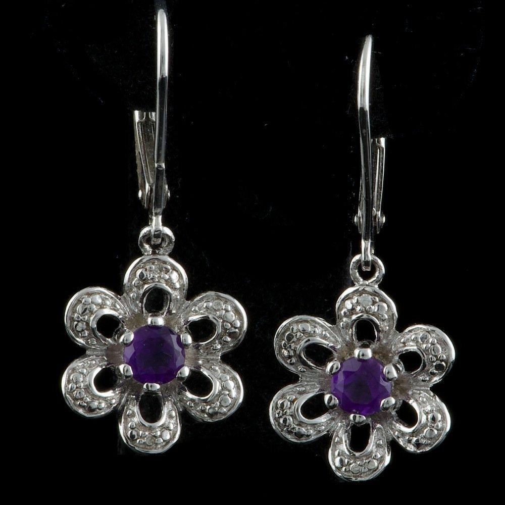 Sterling Silver 0.40ct Amethyst Diamond Earrings
