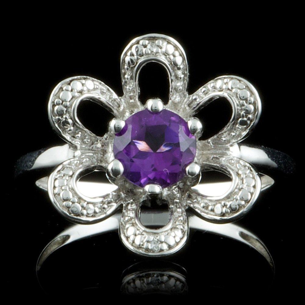 925 Sterling Silver 0.70ct Amethyst Diamond Ring