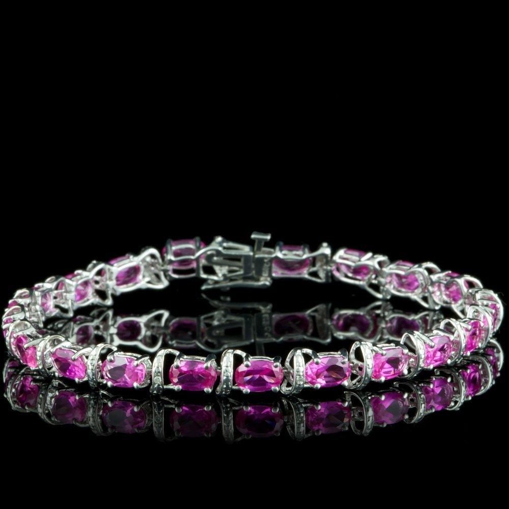 Silver 5ct Sapphire 0.06ct Diamond Bracelet