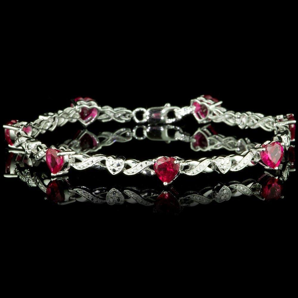 925 Sterling Silver 4ct Ruby Diamond Bracelet
