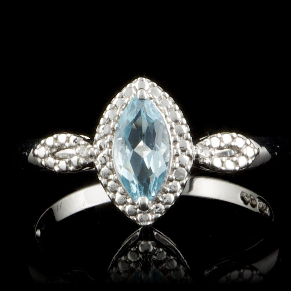 925 Sterling Silver 0.70ct Topaz Diamond Ring